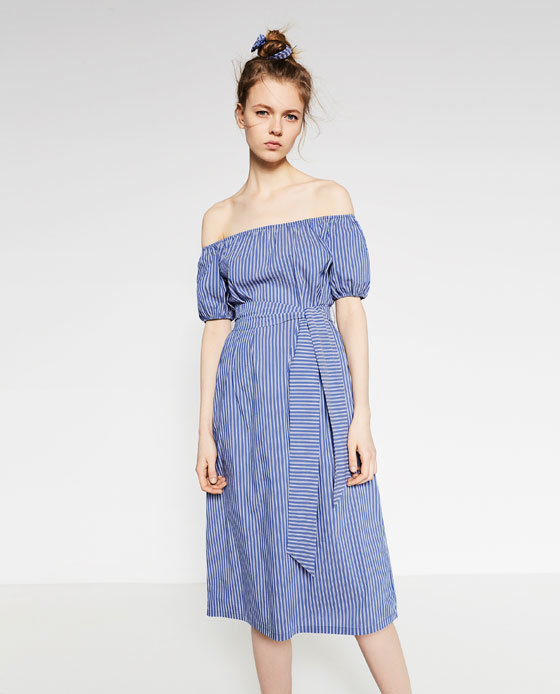 Striped Midi Dress - style: shift; length: calf length; neckline: off the shoulder; pattern: vertical stripes; waist detail: belted waist/tie at waist/drawstring; predominant colour: pale blue; occasions: casual; fit: body skimming; fibres: cotton - stretch; sleeve length: half sleeve; sleeve style: standard; pattern type: fabric; texture group: other - light to midweight; season: s/s 2016; wardrobe: highlight