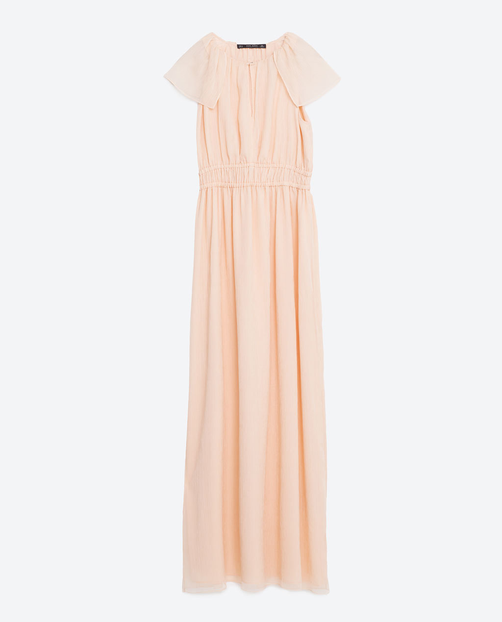 Long Dress - pattern: plain; style: maxi dress; length: ankle length; predominant colour: blush; occasions: evening; fit: body skimming; fibres: polyester/polyamide - 100%; neckline: crew; sleeve length: short sleeve; sleeve style: standard; pattern type: fabric; texture group: other - light to midweight; season: s/s 2016; wardrobe: event