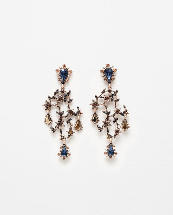 Colourful Gems Earrings - predominant colour: navy; secondary colour: gold; occasions: evening, occasion; style: drop; length: long; size: large/oversized; material: chain/metal; fastening: pierced; finish: metallic; embellishment: jewels/stone; season: s/s 2016
