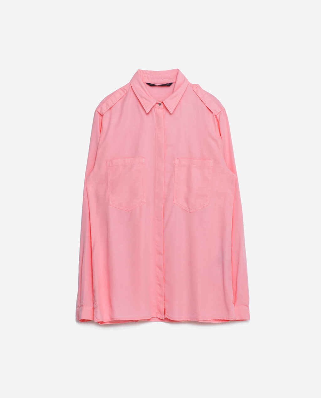 Neon Shirt - neckline: shirt collar/peter pan/zip with opening; pattern: plain; style: shirt; bust detail: pocket detail at bust; predominant colour: pink; occasions: casual; length: standard; fibres: viscose/rayon - 100%; fit: body skimming; sleeve length: long sleeve; sleeve style: standard; texture group: cotton feel fabrics; pattern type: fabric; season: s/s 2016; wardrobe: highlight