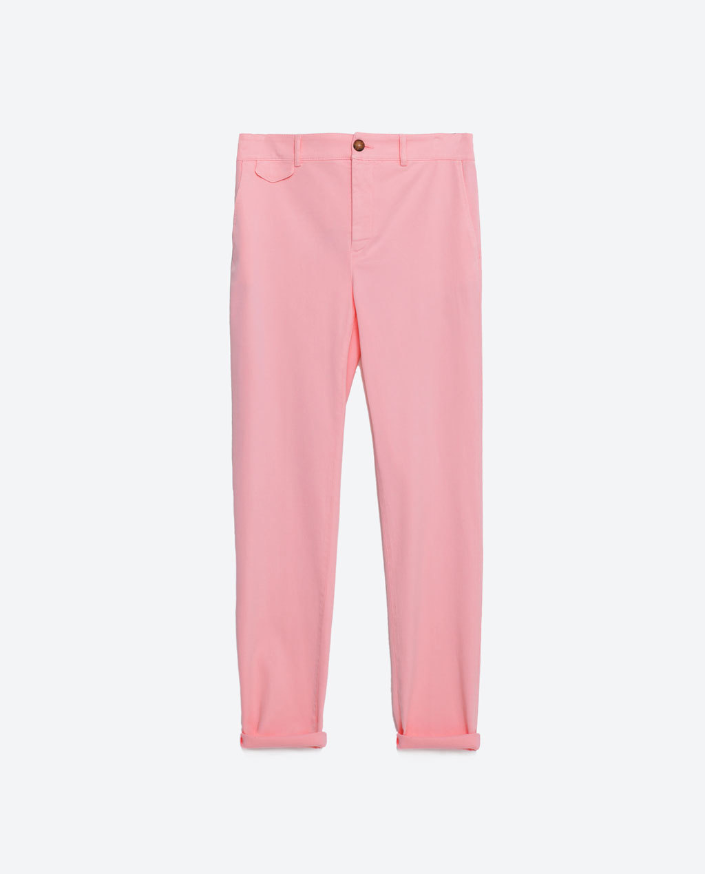 Neon Chinos - length: standard; pattern: plain; waist: mid/regular rise; predominant colour: pink; occasions: casual, holiday; style: chino; fibres: cotton - 100%; jeans & bottoms detail: turn ups; texture group: cotton feel fabrics; fit: straight leg; pattern type: fabric; season: s/s 2016; wardrobe: highlight