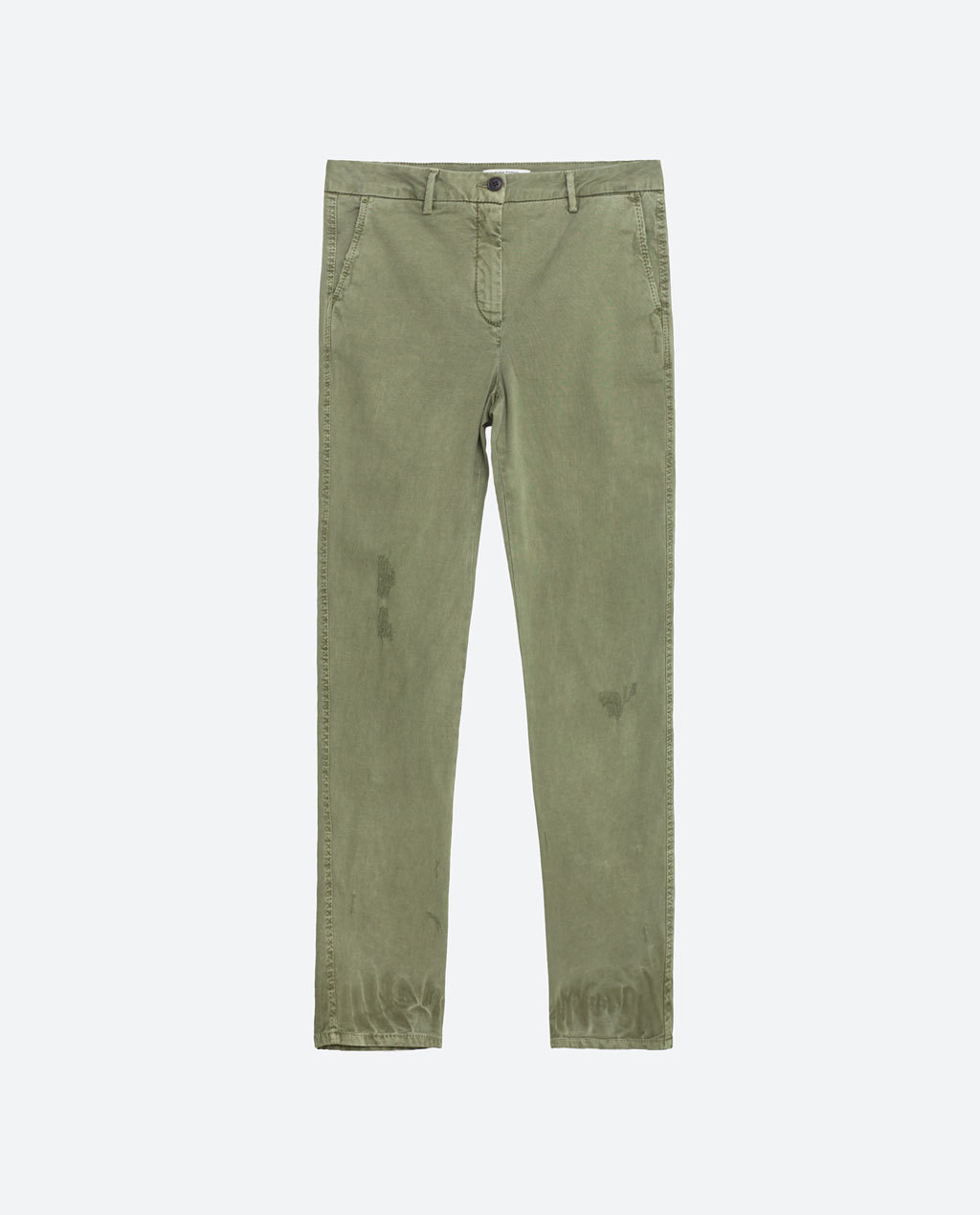 Chino Trousers - pattern: plain; waist: mid/regular rise; predominant colour: khaki; occasions: casual, holiday; length: ankle length; style: chino; fibres: cotton - 100%; waist detail: feature waist detail; texture group: cotton feel fabrics; fit: slim leg; pattern type: fabric; season: s/s 2016; wardrobe: basic