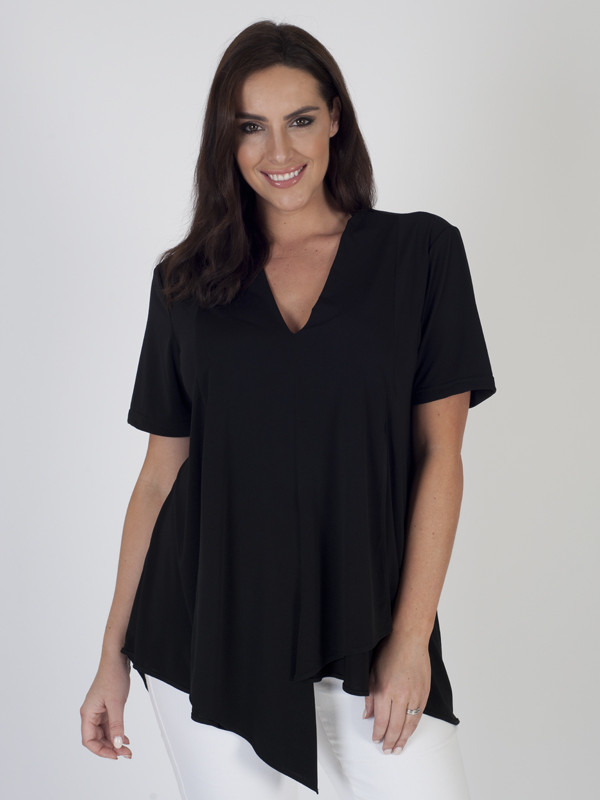 Black Asymmetric Layered Jersey Top - neckline: v-neck; pattern: plain; predominant colour: black; occasions: casual, creative work; length: standard; style: top; fibres: polyester/polyamide - stretch; fit: body skimming; sleeve length: short sleeve; sleeve style: standard; texture group: knits/crochet; pattern type: fabric; season: s/s 2016