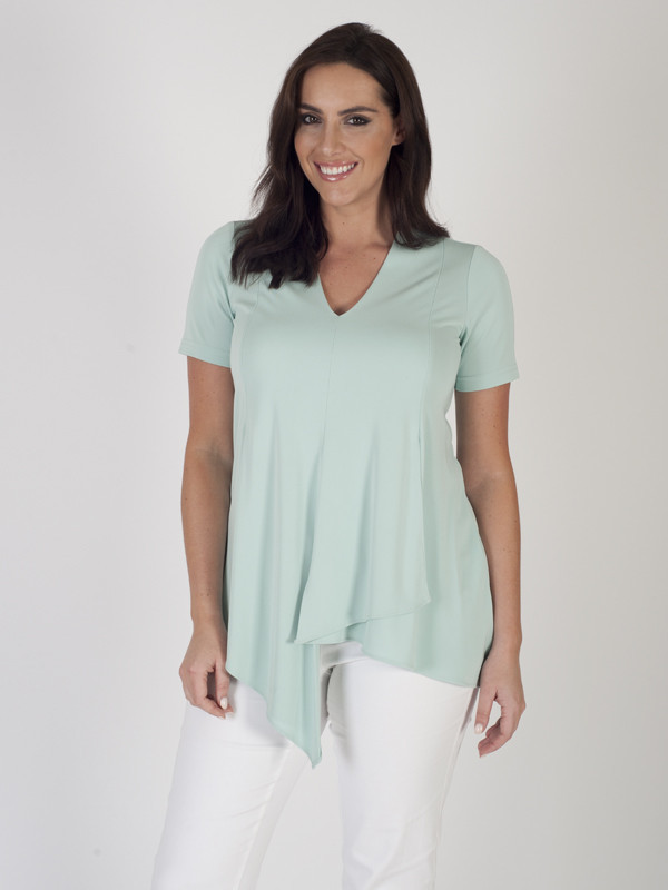 Aqua Asymmetric Layer Jersey Top - neckline: v-neck; pattern: plain; length: below the bottom; style: t-shirt; predominant colour: pistachio; occasions: casual; fibres: polyester/polyamide - stretch; fit: body skimming; sleeve length: short sleeve; sleeve style: standard; pattern type: fabric; texture group: jersey - stretchy/drapey; season: s/s 2016; wardrobe: highlight
