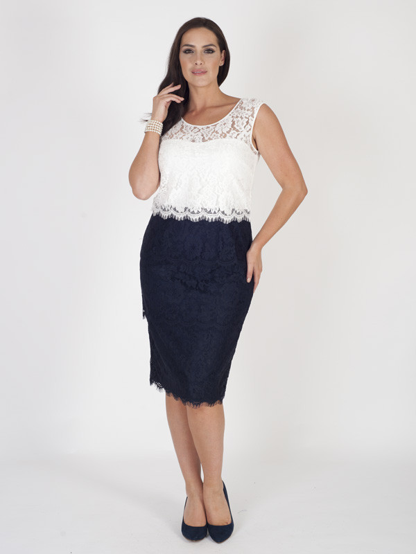 Navy/Ivory Bodice Scallop Layered Lace Dress - style: shift; length: below the knee; neckline: round neck; sleeve style: sleeveless; secondary colour: white; predominant colour: navy; occasions: evening; fit: body skimming; fibres: polyester/polyamide - 100%; sleeve length: sleeveless; texture group: lace; pattern type: fabric; pattern: patterned/print; embellishment: lace; multicoloured: multicoloured; season: s/s 2016; wardrobe: event; embellishment location: top