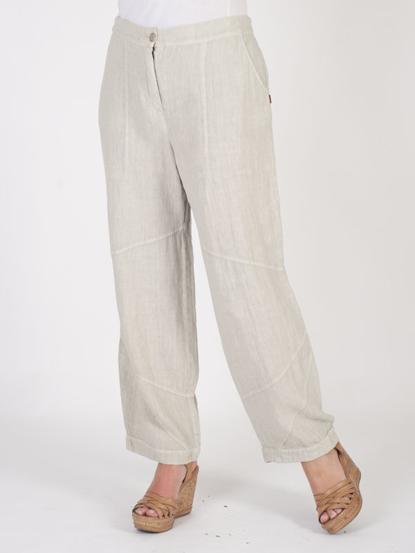 Vetono Stone Linen Seamed Trouser - pattern: plain; waist: mid/regular rise; predominant colour: ivory/cream; length: ankle length; fibres: linen - 100%; waist detail: feature waist detail; texture group: linen; occasions: holiday; fit: wide leg; pattern type: fabric; style: standard; season: s/s 2016; wardrobe: holiday