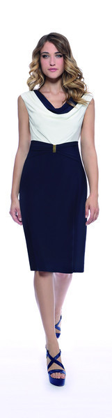 White/Navy Cowl Neck Jersey Dress - style: shift; length: below the knee; neckline: low v-neck; fit: tailored/fitted; pattern: plain; sleeve style: sleeveless; secondary colour: white; predominant colour: navy; fibres: polyester/polyamide - stretch; occasions: occasion; sleeve length: sleeveless; pattern type: fabric; texture group: other - light to midweight; season: s/s 2016; wardrobe: event