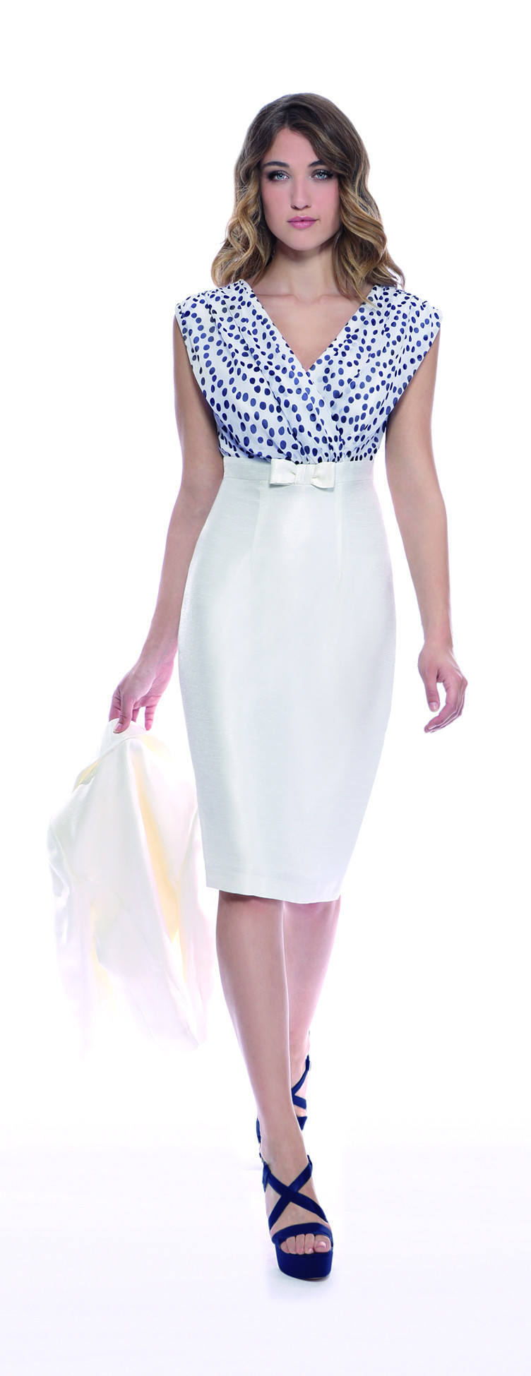 Ivory/Black Spot Bodice Dress - style: shift; neckline: v-neck; sleeve style: capped; fit: tailored/fitted; hip detail: fitted at hip; secondary colour: white; predominant colour: royal blue; occasions: evening; length: on the knee; sleeve length: sleeveless; pattern type: fabric; pattern size: standard; pattern: patterned/print; texture group: woven light midweight; fibres: viscose/rayon - mix; season: s/s 2016