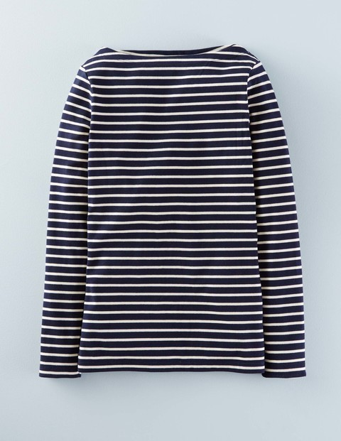 Essential Boatneck Navy/Ivory Women, Navy/Ivory - neckline: slash/boat neckline; pattern: horizontal stripes; style: t-shirt; secondary colour: white; predominant colour: navy; occasions: casual, creative work; length: standard; fibres: cotton - stretch; fit: body skimming; sleeve length: long sleeve; sleeve style: standard; texture group: jersey - clingy; pattern type: fabric; pattern size: standard; season: s/s 2016