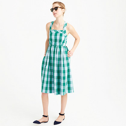 Gingham Sundress - length: below the knee; sleeve style: sleeveless; style: sundress; pattern: checked/gingham; secondary colour: white; predominant colour: emerald green; occasions: casual; fit: fitted at waist & bust; fibres: cotton - 100%; sleeve length: sleeveless; neckline: medium square neck; pattern type: fabric; texture group: other - light to midweight; multicoloured: multicoloured; season: s/s 2016; wardrobe: highlight