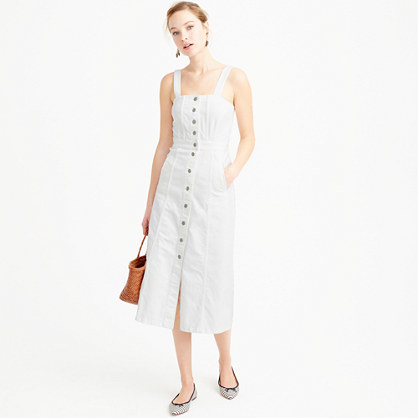 Button Front Dress In White Denim - length: calf length; pattern: plain; sleeve style: sleeveless; style: sundress; predominant colour: white; occasions: casual; fit: body skimming; fibres: cotton - stretch; sleeve length: sleeveless; texture group: denim; neckline: medium square neck; pattern type: fabric; season: s/s 2016; wardrobe: basic
