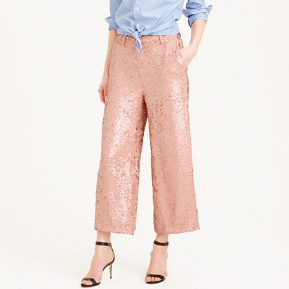 Collection Sequined Gazebo Pant - waist: mid/regular rise; predominant colour: pink; occasions: evening, occasion; length: ankle length; fibres: silk - 100%; fit: straight leg; pattern type: fabric; pattern: patterned/print; texture group: other - light to midweight; style: standard; embellishment: sequins; pattern size: standard (bottom); season: s/s 2016