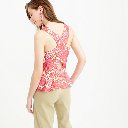 Collection Floral Top In Silk - neckline: v-neck; sleeve style: sleeveless; secondary colour: white; predominant colour: pink; occasions: casual; length: standard; style: top; fibres: silk - 100%; fit: body skimming; sleeve length: sleeveless; texture group: silky - light; pattern type: fabric; pattern: florals; multicoloured: multicoloured; season: s/s 2016; wardrobe: highlight