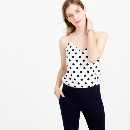 Carrie Cami In Polka Dot - neckline: low v-neck; sleeve style: spaghetti straps; style: camisole; pattern: polka dot; predominant colour: white; secondary colour: black; occasions: casual; length: standard; fibres: cotton - stretch; fit: body skimming; sleeve length: sleeveless; pattern type: fabric; texture group: other - light to midweight; multicoloured: multicoloured; season: s/s 2016; wardrobe: highlight