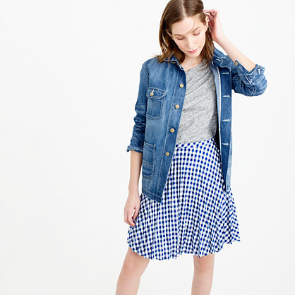 Gingham Pleated Mini Skirt - pattern: checked/gingham; fit: loose/voluminous; waist: mid/regular rise; secondary colour: white; predominant colour: royal blue; occasions: casual, creative work; length: on the knee; style: a-line; fibres: linen - 100%; pattern type: fabric; texture group: other - light to midweight; pattern size: light/subtle (bottom); season: s/s 2016; wardrobe: highlight