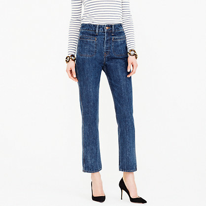 Point Sur Ally High Rise Jean - style: straight leg; length: standard; pattern: plain; waist: high rise; predominant colour: navy; occasions: casual; fibres: cotton - stretch; texture group: denim; pattern type: fabric; season: s/s 2016; wardrobe: basic