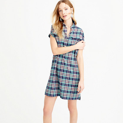 Shirtdress In Vintage Plaid - style: shirt; length: mid thigh; neckline: shirt collar/peter pan/zip with opening; pattern: checked/gingham; predominant colour: dark green; occasions: casual, creative work; fit: body skimming; fibres: cotton - 100%; sleeve length: short sleeve; sleeve style: standard; texture group: cotton feel fabrics; pattern type: fabric; season: s/s 2016; wardrobe: highlight