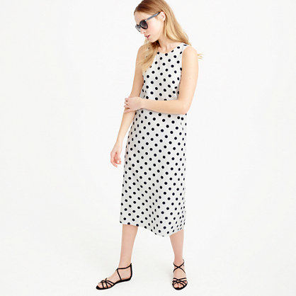Midi Dress In Polka Dot - style: shift; length: below the knee; neckline: round neck; fit: tailored/fitted; sleeve style: sleeveless; pattern: polka dot; predominant colour: white; secondary colour: black; occasions: evening; fibres: silk - 100%; sleeve length: sleeveless; texture group: crepes; pattern type: fabric; season: s/s 2016