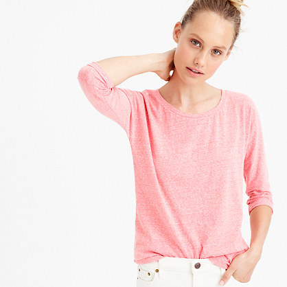 Dolman T Shirt In Slub Cotton - neckline: round neck; pattern: plain; style: t-shirt; predominant colour: pink; occasions: casual; length: standard; fibres: cotton - 100%; fit: body skimming; sleeve length: long sleeve; sleeve style: standard; pattern type: fabric; texture group: jersey - stretchy/drapey; season: s/s 2016; wardrobe: highlight