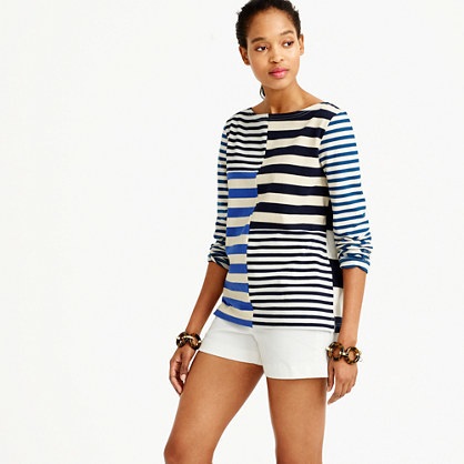 Patchwork Striped T Shirt - pattern: horizontal stripes; style: t-shirt; secondary colour: white; predominant colour: royal blue; occasions: casual; length: standard; fibres: cotton - 100%; fit: body skimming; neckline: crew; sleeve length: 3/4 length; sleeve style: standard; trends: monochrome, graphic stripes; texture group: crepes; pattern type: fabric; multicoloured: multicoloured; season: s/s 2016; wardrobe: highlight