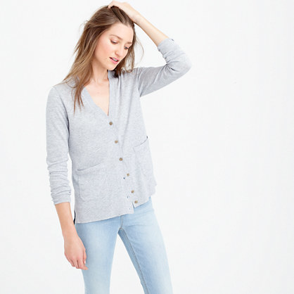 Summerweight Cardigan Sweater - neckline: v-neck; pattern: plain; predominant colour: light grey; occasions: casual; length: standard; style: standard; fibres: cotton - 100%; fit: slim fit; sleeve length: long sleeve; sleeve style: standard; texture group: knits/crochet; pattern type: fabric; season: s/s 2016