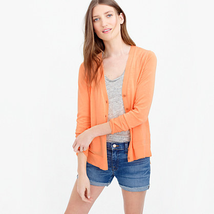 Summerweight Cardigan Sweater In Neon - neckline: v-neck; pattern: plain; predominant colour: bright orange; occasions: casual; length: standard; style: standard; fibres: cotton - 100%; fit: slim fit; sleeve length: long sleeve; sleeve style: standard; texture group: knits/crochet; pattern type: fabric; season: s/s 2016; wardrobe: highlight