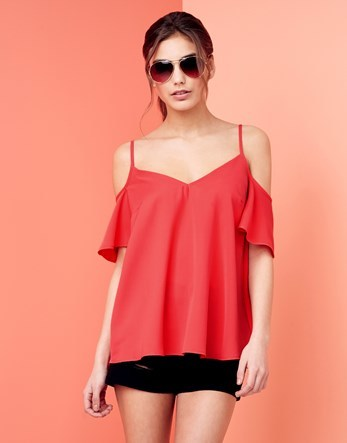 Cold Shoulder Cami Top - neckline: v-neck; pattern: plain; predominant colour: coral; occasions: casual; length: standard; style: top; fibres: polyester/polyamide - 100%; fit: loose; shoulder detail: cut out shoulder; sleeve length: half sleeve; sleeve style: standard; pattern type: fabric; texture group: jersey - stretchy/drapey; season: s/s 2016; wardrobe: highlight