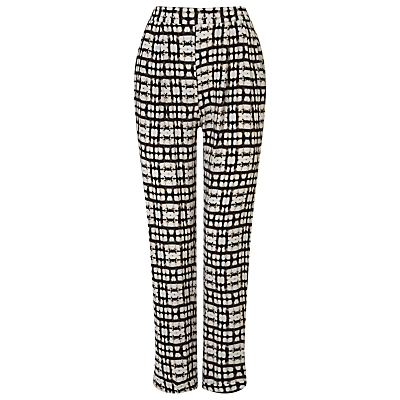 Justyne Print Trousers, Black/Stone - length: standard; waist: high rise; predominant colour: black; occasions: casual, creative work; fibres: viscose/rayon - 100%; fit: straight leg; pattern type: fabric; pattern: patterned/print; texture group: other - light to midweight; style: standard; pattern size: big & busy (bottom); season: s/s 2016; wardrobe: highlight
