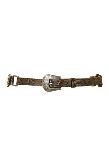 Embossed Western Belt - predominant colour: chocolate brown; secondary colour: silver; occasions: casual, creative work; type of pattern: standard; style: classic; size: standard; worn on: hips; material: faux leather; pattern: plain; finish: plain; embellishment: chain/metal; season: s/s 2016