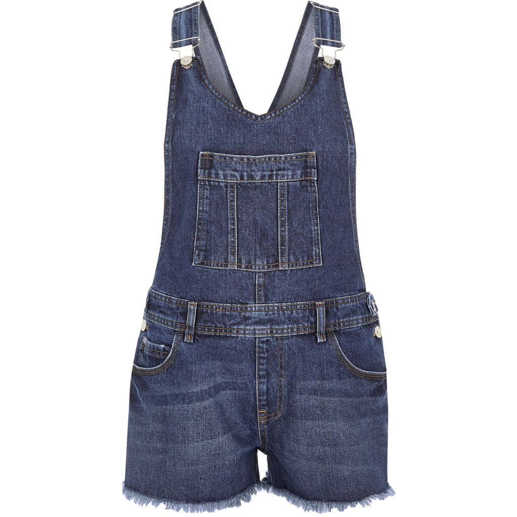 Womens Blue Denim Frayed Hem Short Dungarees - pattern: plain; sleeve style: sleeveless; length: short shorts; predominant colour: navy; occasions: casual; fit: body skimming; neckline: scoop; fibres: cotton - 100%; sleeve length: sleeveless; texture group: denim; style: dungarees; bust detail: dungaree top; pattern type: fabric; season: s/s 2016; wardrobe: highlight