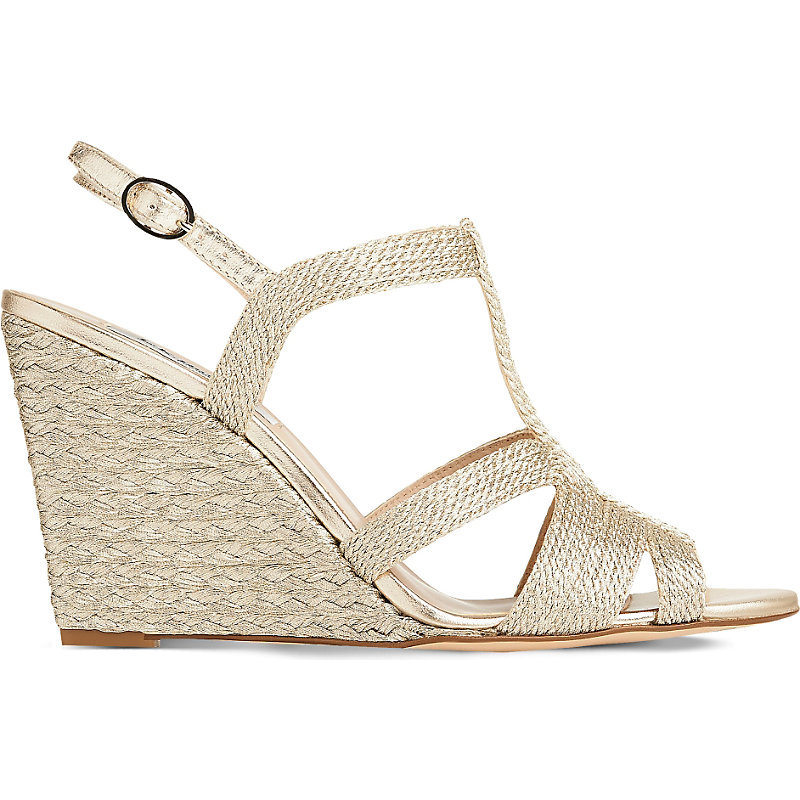 Raine Rope Wedge Sandals, Women's, Eur 36 / 3 Uk Women, Gol Soft Gold - predominant colour: gold; material: leather; heel height: high; heel: wedge; toe: open toe/peeptoe; style: strappy; occasions: holiday; finish: metallic; pattern: plain; season: s/s 2016; wardrobe: highlight