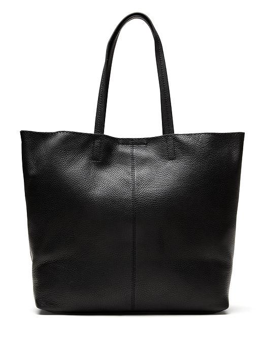 Leather Slouchy Tote Black - predominant colour: black; occasions: casual, creative work; type of pattern: standard; style: tote; length: handle; size: oversized; material: leather; pattern: plain; finish: plain; season: s/s 2016; wardrobe: investment