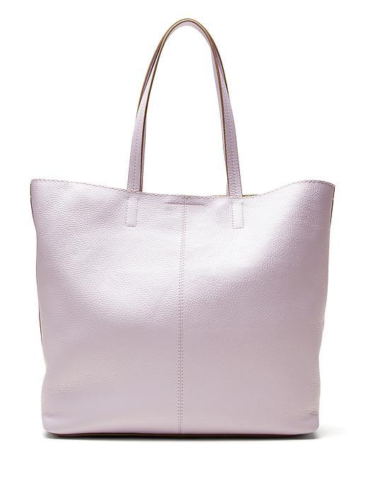 Leather Slouchy Tote Lilac - predominant colour: lilac; occasions: casual, creative work; type of pattern: standard; style: tote; length: handle; size: standard; material: leather; pattern: plain; finish: plain; season: s/s 2016; wardrobe: highlight