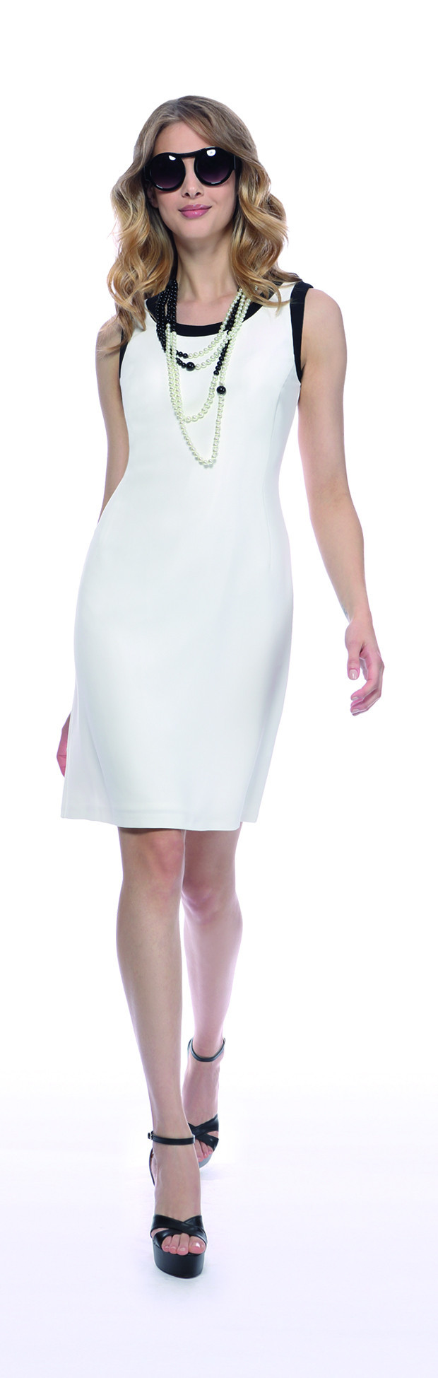 Micheala Louisa Ivory And Black Trimmed Dress - style: shift; neckline: round neck; fit: tailored/fitted; pattern: plain; sleeve style: sleeveless; hip detail: draws attention to hips; secondary colour: white; predominant colour: ivory/cream; length: just above the knee; fibres: polyester/polyamide - 100%; occasions: occasion; sleeve length: sleeveless; texture group: crepes; pattern type: fabric; season: s/s 2016; wardrobe: event