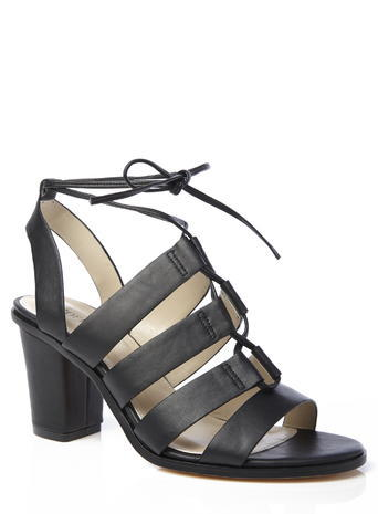 Womens Block Ghillie Tie Heels, Black, Black - predominant colour: black; material: faux leather; heel height: high; ankle detail: ankle strap; heel: block; toe: open toe/peeptoe; style: strappy; finish: plain; pattern: plain; occasions: creative work; season: s/s 2016