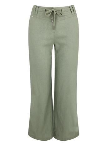 Womens Petite Linen Trousers, Khaki, Khaki - length: standard; pattern: plain; waist: high rise; waist detail: belted waist/tie at waist/drawstring; predominant colour: khaki; occasions: casual; fibres: linen - 100%; texture group: linen; fit: flares; pattern type: fabric; style: standard; season: s/s 2016; wardrobe: basic