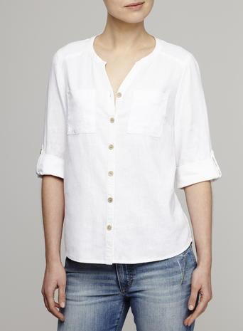 Womens Linen Blend Button Through Shirt, White, White - neckline: v-neck; pattern: plain; style: shirt; predominant colour: white; occasions: casual; length: standard; fibres: linen - mix; fit: body skimming; sleeve length: 3/4 length; sleeve style: standard; texture group: linen; pattern type: fabric; season: s/s 2016