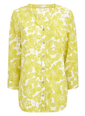Womens Long Sleeved Linen Floral Shirt, Saffron, Saffron - neckline: v-neck; length: below the bottom; style: shirt; secondary colour: white; predominant colour: yellow; occasions: casual; fibres: linen - 100%; fit: body skimming; sleeve length: long sleeve; sleeve style: standard; texture group: linen; pattern type: fabric; pattern: florals; multicoloured: multicoloured; season: s/s 2016; wardrobe: highlight