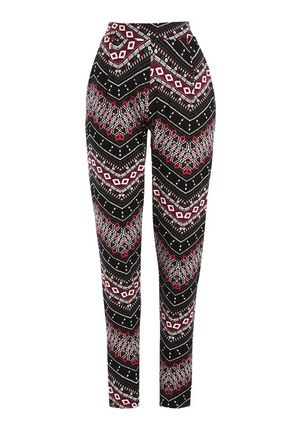 Mixed Zigzag Print Trousers In Multi Size - length: standard; waist: high rise; pocket detail: pockets at the sides; secondary colour: pink; predominant colour: black; fibres: cotton - 100%; fit: tapered; pattern type: fabric; pattern: patterned/print; texture group: other - light to midweight; style: standard; occasions: creative work; pattern size: standard (bottom); multicoloured: multicoloured; season: s/s 2016; wardrobe: highlight