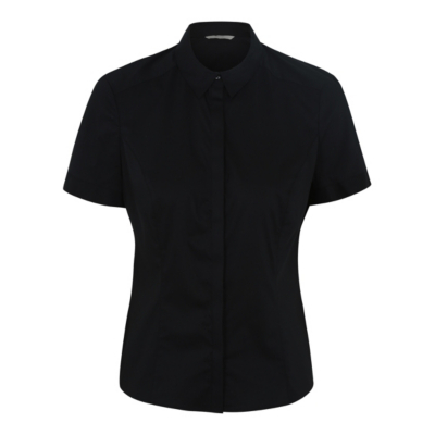 Tailored Shirt Black - neckline: shirt collar/peter pan/zip with opening; pattern: plain; style: shirt; predominant colour: black; occasions: casual; length: standard; fibres: polyester/polyamide - stretch; fit: body skimming; sleeve length: short sleeve; sleeve style: standard; pattern type: fabric; texture group: other - light to midweight; season: s/s 2016; wardrobe: basic