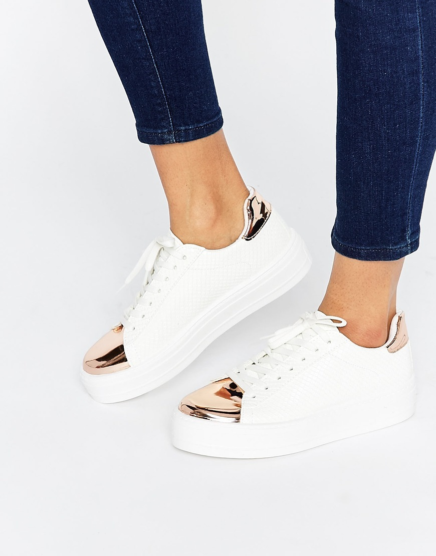 Definitely Lace Up Trainers White - predominant colour: white; secondary colour: bronze; occasions: casual; material: fabric; heel height: flat; toe: round toe; style: trainers; finish: plain; pattern: plain; embellishment: toe cap; multicoloured: multicoloured; season: s/s 2016; wardrobe: basic