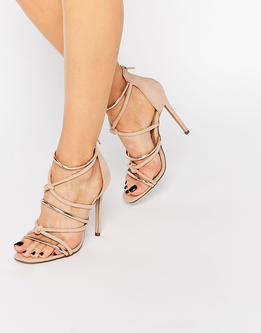 Knot Front Heeled Sandal Rose - predominant colour: champagne; occasions: evening, occasion; material: faux leather; heel height: high; ankle detail: ankle strap; heel: stiletto; toe: open toe/peeptoe; style: strappy; finish: plain; pattern: plain; season: s/s 2016