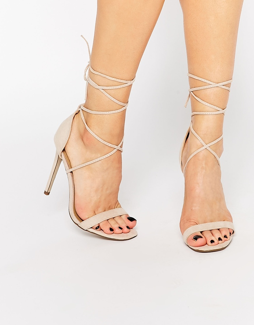 Lace Up Barely There Sandal Nude - predominant colour: nude; occasions: evening, occasion; material: leather; heel height: high; ankle detail: ankle tie; heel: stiletto; toe: open toe/peeptoe; style: strappy; finish: plain; pattern: plain; season: s/s 2016; wardrobe: event