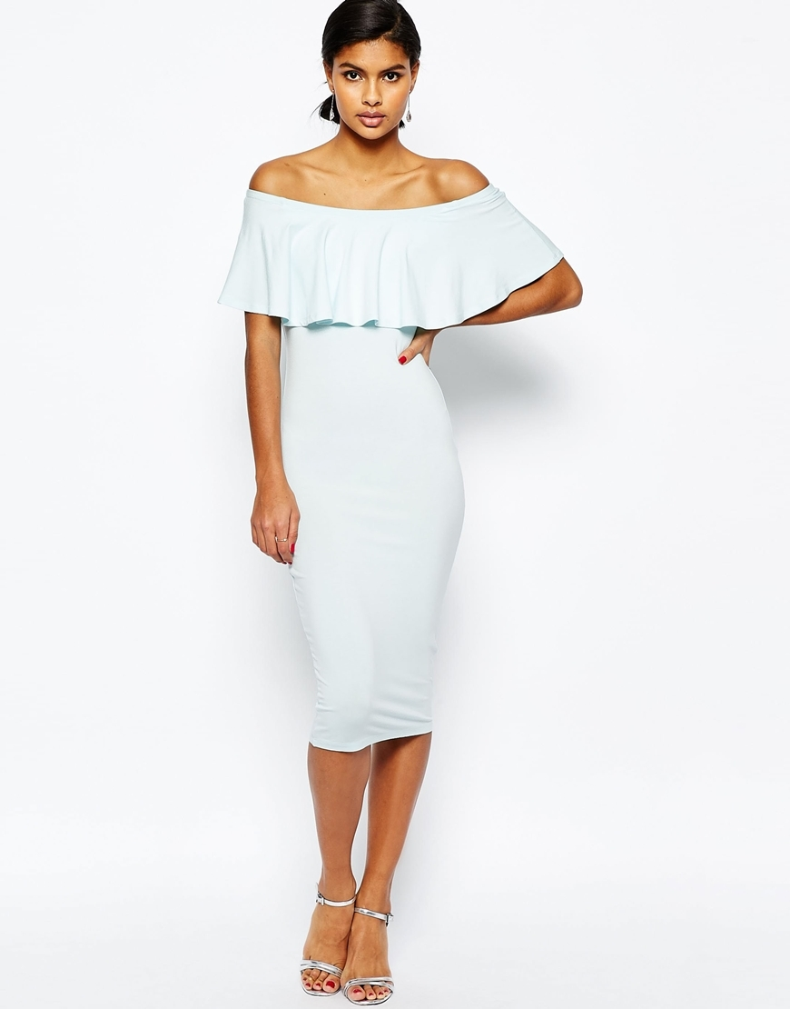 Ruffle Off Shoulder Bardot Pencil Midi Dress Pale Blue - length: below the knee; neckline: off the shoulder; fit: tight; pattern: plain; style: bodycon; bust detail: subtle bust detail; predominant colour: pale blue; occasions: evening; fibres: viscose/rayon - stretch; sleeve length: short sleeve; sleeve style: standard; texture group: jersey - clingy; pattern type: fabric; season: s/s 2016; wardrobe: event