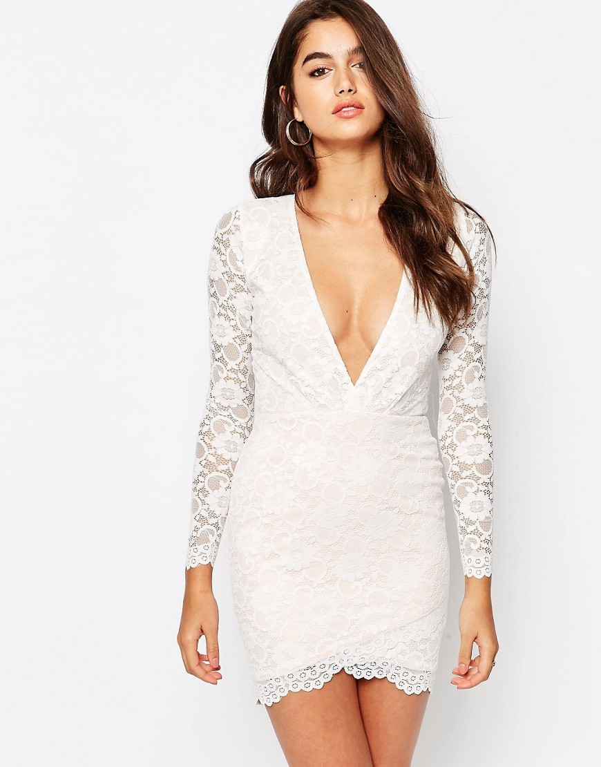 Lace Asymmetric Hem Mini Dress Cream - length: mini; neckline: plunge; fit: tight; pattern: plain; style: bodycon; predominant colour: ivory/cream; occasions: evening; sleeve length: long sleeve; sleeve style: standard; texture group: lace; pattern type: fabric; fibres: nylon - stretch; shoulder detail: sheer at shoulder; season: s/s 2016; wardrobe: event