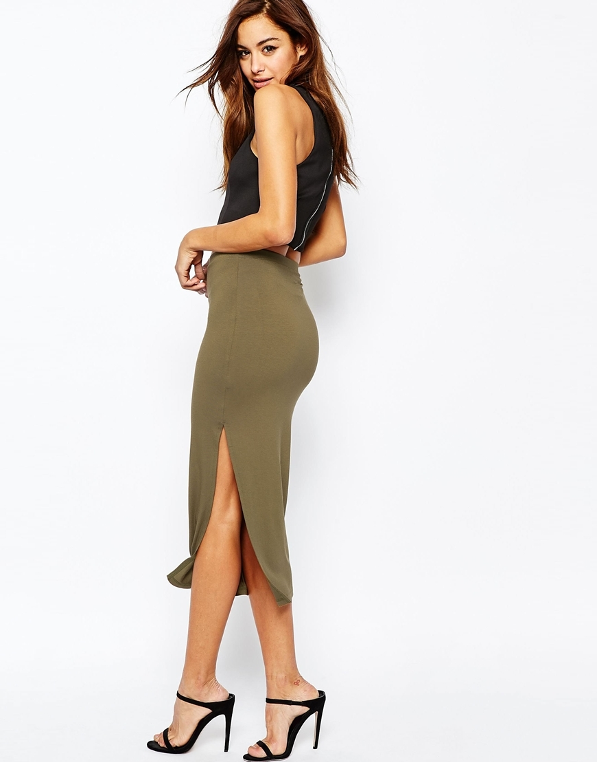 Longer Length Midi Pencil Skirt With Thigh Split Khaki - length: below the knee; pattern: plain; style: pencil; fit: tailored/fitted; waist: high rise; predominant colour: khaki; occasions: evening; fibres: viscose/rayon - stretch; hip detail: slits at hip; texture group: jersey - clingy; pattern type: fabric; season: s/s 2016