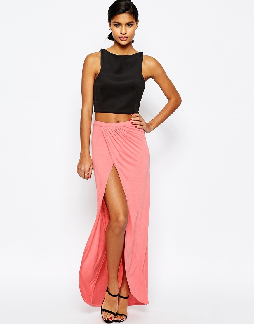 Wrap Maxi Skirt In Jersey Coral - pattern: plain; style: wrap/faux wrap; length: ankle length; fit: body skimming; waist: high rise; predominant colour: pink; occasions: evening; fibres: viscose/rayon - 100%; texture group: jersey - clingy; pattern type: fabric; season: s/s 2016; wardrobe: event