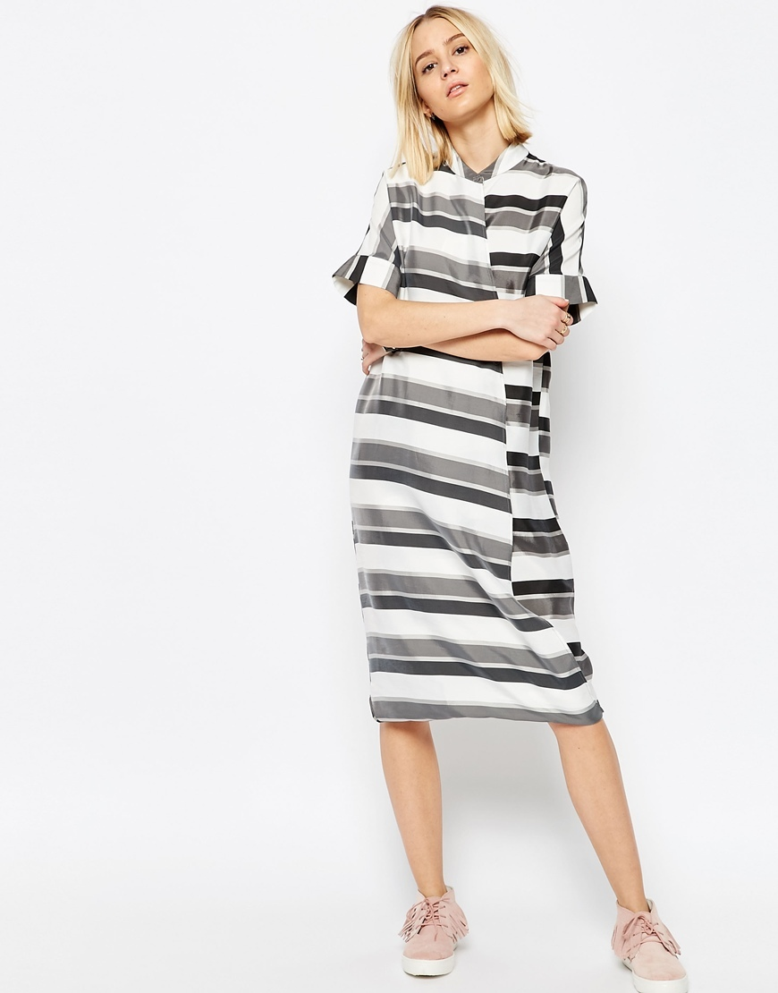 Stripe Wrap Shirt Midi Dress Grey Stripe - style: shirt; length: below the knee; neckline: slash/boat neckline; fit: loose; pattern: striped; secondary colour: white; predominant colour: mid grey; occasions: casual, creative work; fibres: viscose/rayon - 100%; sleeve length: short sleeve; sleeve style: standard; pattern type: fabric; texture group: woven light midweight; multicoloured: multicoloured; season: s/s 2016; wardrobe: highlight