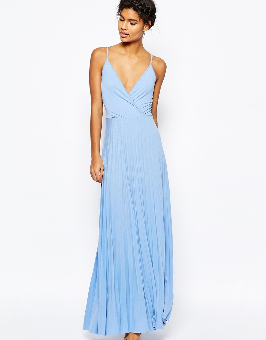 Wrap Front Strap Back Pleated Maxi Dress Pale Blue - neckline: low v-neck; sleeve style: spaghetti straps; pattern: plain; style: maxi dress; predominant colour: pale blue; occasions: evening; length: floor length; fit: body skimming; fibres: polyester/polyamide - mix; sleeve length: sleeveless; pattern type: fabric; texture group: jersey - stretchy/drapey; season: s/s 2016; wardrobe: event