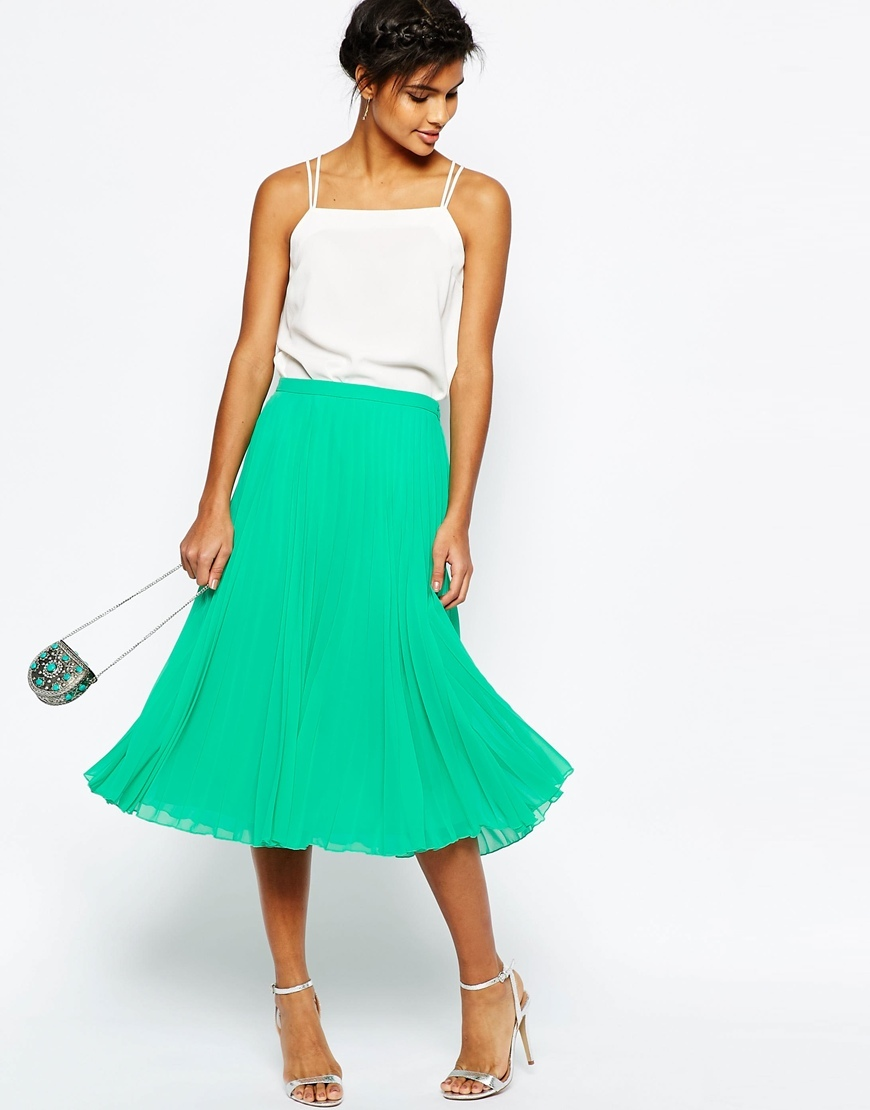 Pleated Midi Skirt Green - length: below the knee; pattern: plain; fit: loose/voluminous; style: pleated; waist: high rise; predominant colour: emerald green; fibres: polyester/polyamide - 100%; occasions: occasion; texture group: sheer fabrics/chiffon/organza etc.; pattern type: fabric; season: s/s 2016; wardrobe: event